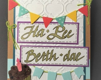 "Happy Birthday ""Ha-Pee Berth-dae"" Hand-made Card & Envelope 4.25"" x 5.5"" (#1)"