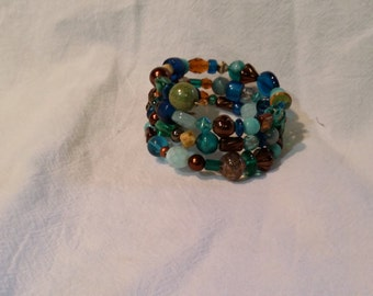 Various Blues, Browns and Copper Accent Glass Bead Wrap Bracelet