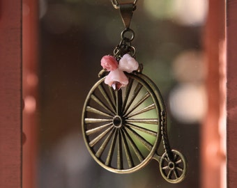 Vintage Penny Farthing Bicycle Necklace