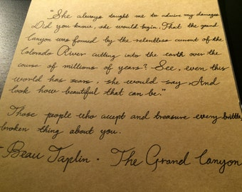 custom handwritten notes/letter in black ink pen