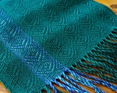 Scarf Handwoven Hand Woven Dark Emerald Green Blue Turquoise Tencel Cotton Womens