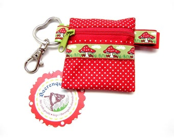 Mini coin purse with zip and carabiner key ring