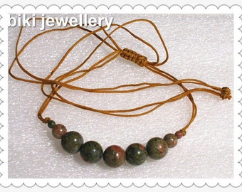 Handcrafted Unakite necklace #N7707