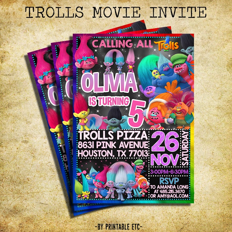 photo regarding Trolls Birthday Invitations Printable known as Showcased ETSY Goods - Birthday Occasion Guidelines Themes
