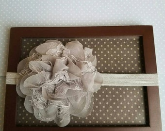 Gray Newborn flower headband