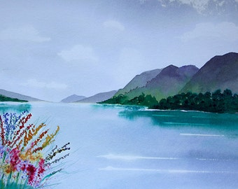 """Loch Lochy, Scottish Highlands, Original Brusho painting supplied with mount ready to frame, painting size is 14"""" x 10"""", great gift"""