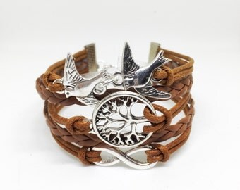 Tree of Life Bracelet, Boho, Couples Bracelet, His and Hers, Family Tree Bracelet, Tree Jewelry, Birds Bracelet, Friendship Bracelet