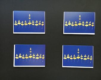 """Set of 4 Cards - Small """"Gingko Heart Menorah"""" Card Prints"""
