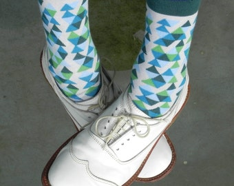 GREEN TRIANGLES colorful green SOCKS cool hipster or fun wedding groom groomsmen socks or gift idea for birthday christmas and more for men