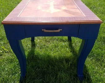 Nautical End Table, Refinished, Anchor, Rope