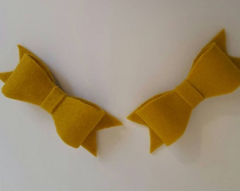Mustard Yellow Felt Baby Pigtail Bows on Snap clips
