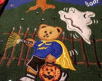 Vintage Bear Ghost Halloween Sweater Vest Pumpkin 90's 80's ARMORED KNIGHT
