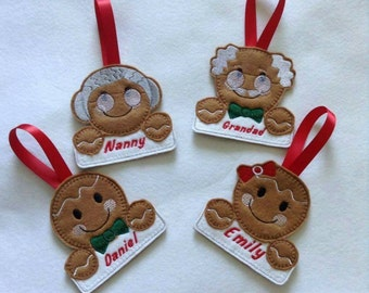 Christmas decorations, personalised Christmas decoration, gingerbread man decoration, tree hanging, felt Christmas decoration,