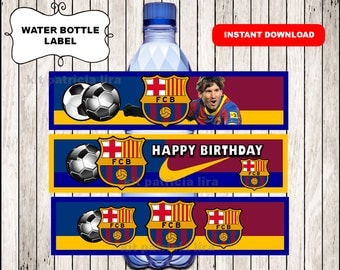 FC Barcelona water labels instant download , FC Barcelona water bottle labels, Printable Soccer party water labels