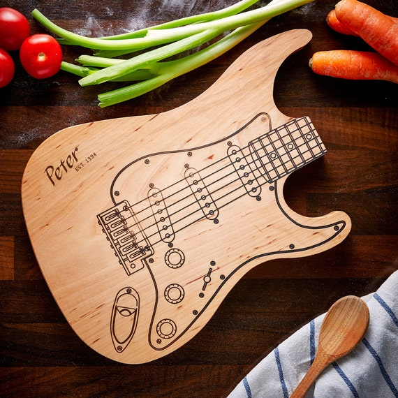 Cutting Board – Electric Guitar - Engraved with Name and Year - Personalised Gift