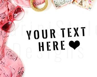 White Desk, Pink & Gold Jewelry, Fashion mockup, Styled Stock Photography, Stock Photo, Styled Desktop, Stock image, Feminine Mockup, 07