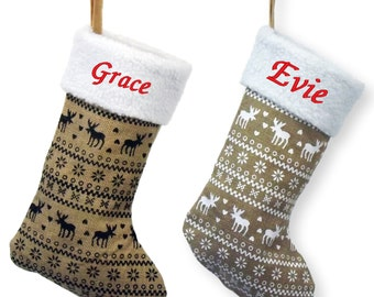 Personalised Embroidered Christmas 35CM Hessian Nordic Xmas Stocking