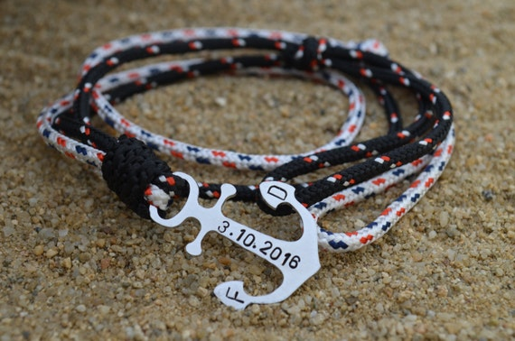 Bracelet ancre personnalis bracelet nautique cadeaux - Bracelet couple ancre ...