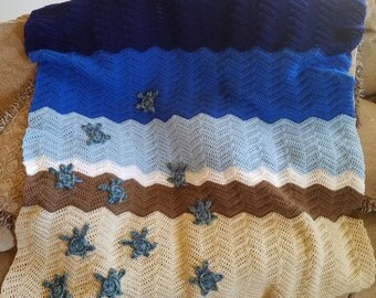 Sea Turtle Crocheted Blanket