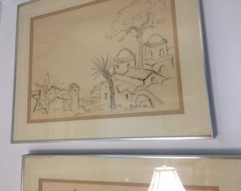 Moroccan landscape and houses - original watercolor, professor baier