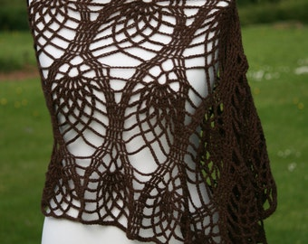 Beautiful brown crocheted poncho/top
