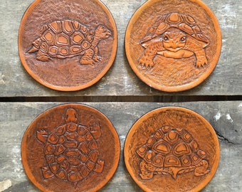 Turtle Coasters/ Hand tooled Brown Leather Coasters- 4pc set/Animal Coasters