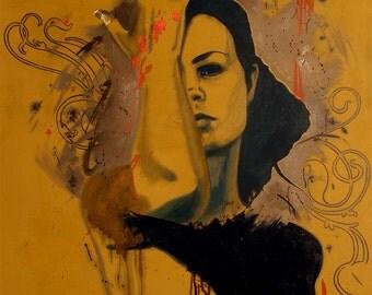 Figurative painting, woman portrait, original painting, interior art, Progressive Dance, 35,4x49,2in. ( 90x125cm), acrylic, oil on canvas