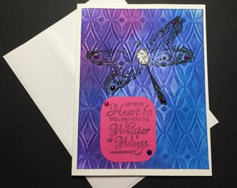 Any Occasion Card, Encouragement Card, Handmade Greeting Card, Dragonfly, Fancy Handmade Card