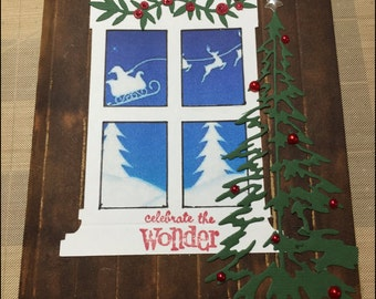Christmas Card, Celebrate the Wonder Card, Handmade Card, Santa, Reindeer, Christmas Tree, Snow, Layered Paper Greeting Card