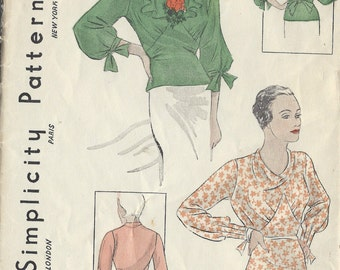1930s Vintage Sewing Pattern B34 BLOUSE (1452) Simplicity 1465