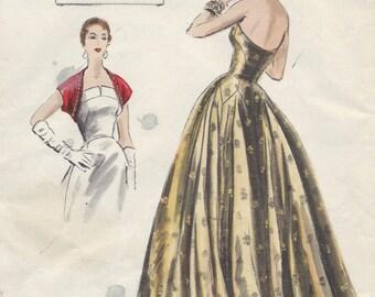 1953 Vintage VOGUE Sewing Pattern B30 EVENING Dress Gown & Bolero (E1305)  Vogue 773