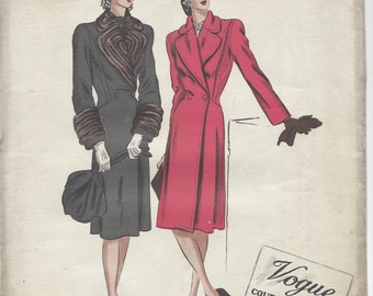 "1940s Vintage VOGUE Sewing Pattern COAT B38"" (R532) Vogue 348"