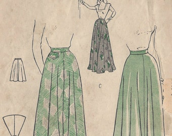 """1940s Vintage Sewing Pattern W24"""" SKIRT (R278)  Butterick 4432"""