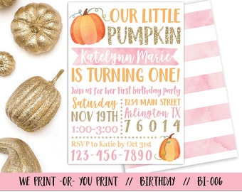 Pumpkin 1st Birthday Invitation, Our Little Pumpkin Invitation, Fall Birthday Invitation, Pumpkin First Birthday. Girl Pumpkin Invitation