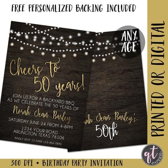 Cheers To 50 Years Birthday Invitation 50th Birthday