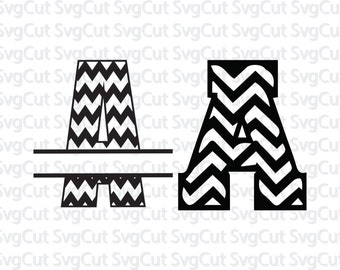 2 chevron font bundle - Chevron split letter alphabet - SVG vector letters - SVG initials - Silhouette and Cricut font designs