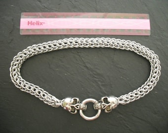 Chunky full Persian chainmail weave chain with skull clasp.