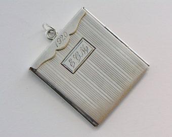 Unusual Art Deco Sterling Large Photo Locket, 1920s Silver Locket, Photo Locket, Memento