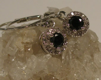 Silver tone dangle black onyx earrings