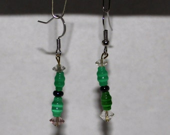 Green Bead With Black and Clear Bead Dangle Earrings