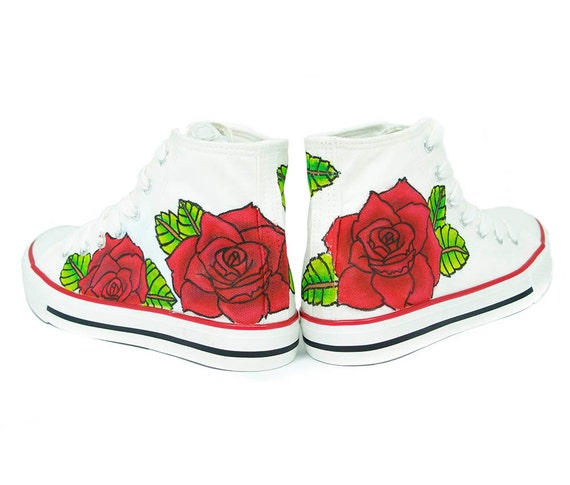 tattoo roses converse custom shoes white shoes man shoes. Black Bedroom Furniture Sets. Home Design Ideas