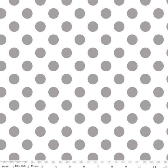Gray Polka Dot Fabric - Riley Blake Medium Dot - Grey and White Dot Fabric