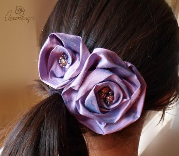 Lavendar Rose 100% Silk Brooch, Purple Flower Hair Pin, Bridesmaid Hair Accessory, Bridal Wedding Prom Flower, Corsage, Flower Girl Hairclip
