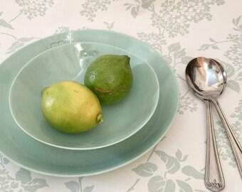 Green Ceramic Bowl. Small Handmade Porcelain Bowl. Beautiful Clay Dining. Kitchen & Home Decor. Cereal Bowl. FebbieDay Ceramics.