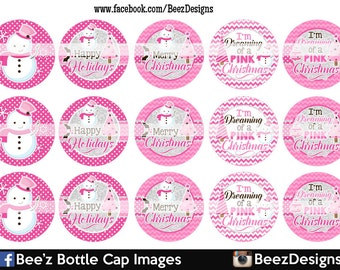 33% off SALE- INSTANT DOWNLOAD- Dreaming of a Pink Christmas- 1inch Bottlecap Images- 4x6 Digital Collage Sheet