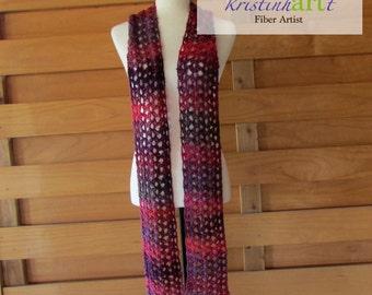 Winery Open Weave Scarf / Handmade Crochet / Pink / Purple / Lavender / Women's Gift Idea / Long / Lightweight