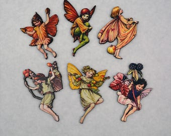 Flower Fairies Autumn Set of 6 - Laser Cut Chipboard - Altered Art Embellishments
