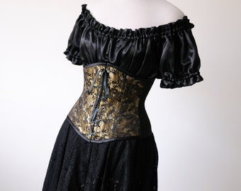 50% OFF Brocade Black Corset Underbust waist cincher renaissance costumes Pirate Wench Halloween cosplay womens clothing ren faire fantasy