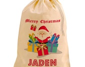 Natural Cotton Christmas Present Sack Santa Father Christmas Personalised For You by Inspired Creative Design