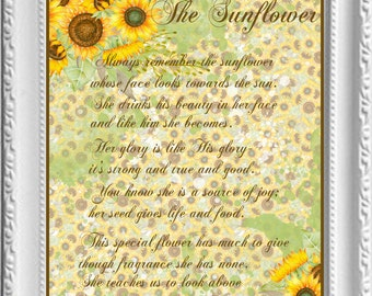 The Sunflower Wall Art/Fall Decor/Sunflowers/Fall Quotes/Printable/October/Fall/Autumn/Religious Wall Art/Christian/Wall Art/Room Decor